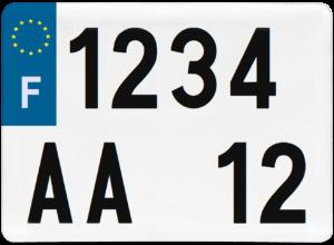 Plaque REMORQUE fond blanc ancien numéro – 275×200 Plaque AUTO – 520×110 – Bords noirs & blancs