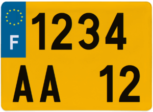 Plaque CAMPING CAR fond jaune ancien numéro – 275×200
