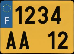 Plaque 4×4 fond jaune ancien numéro – 275×200