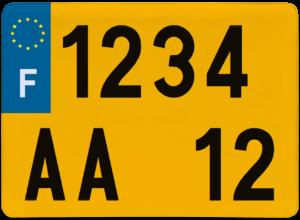Plaque REMORQUE fond jaune ancien numéro – 275×200 Plaque AUTO – 520×110 – Bords noirs & blancs