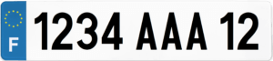Plaque AUTO fond blanc ancien numéro – 520×110