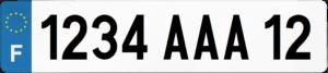 Plaque REMORQUE fond blanc ancien numéro – 520×110 Plaque AUTO – 520×110 – Bords noirs & blancs