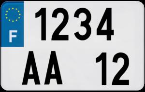 Plaque REMORQUE fond blanc ancien numéro – 210×130 Plaque AUTO – 520×110 – Bords noirs & blancs