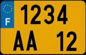Plaque SCOOTER fond jaune ancien numéro – 210×130