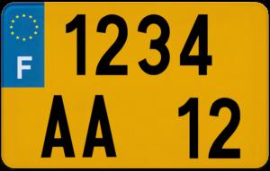 Plaque REMORQUE fond jaune ancien numéro – 210×130 Plaque AUTO – 520×110 – Bords noirs & blancs