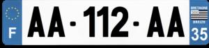 Plaque AUTO – 520×110 – 35 – Ile-et-vilaine