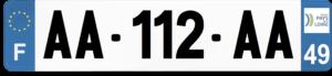 Plaque AUTO – 520×110 – 49 – Maine-et-loire