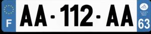Plaque AUTO – 520×110 – 63 – Puy-de-dôme