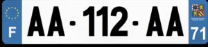 Plaque AUTO – 520×110 – 71 – Saône-et-loire