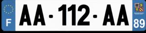 Plaque AUTO – 520×110 – 89 – Yonne