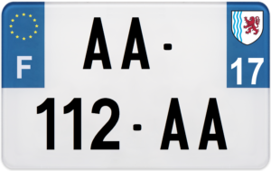 Plaque MOTO – 210×130 – 17 – Charente-maritime