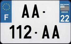 Plaque MOTO – 210×130 – 22 – Côtes-d'Armor