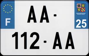 Plaque MOTO – 210×130 – 25 – Doubs