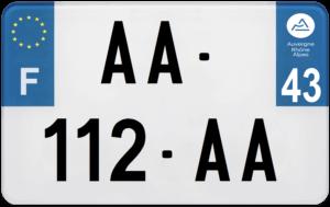 Plaque MOTO – 210×130 – 43 – Haute-Loire