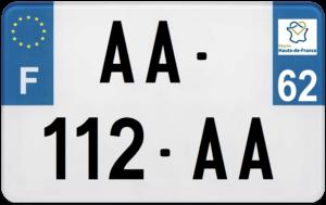 Plaque MOTO – 210×130 – 62 – Pas-de-Calais