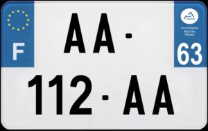 Plaque MOTO – 210×130 – 63 – Puy-de-dôme