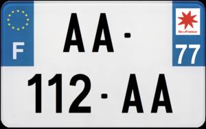 Plaque MOTO – 210×130 – 77 – Seine-et-Marne