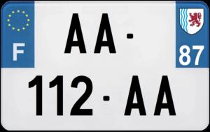 Plaque MOTO – 210×130 – 87 – Haute-Vienne