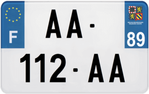 Plaque MOTO – 210×130 – 89 – Yonne