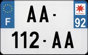 Plaque MOTO – 210×130 – 92 – Hauts-de-Seine