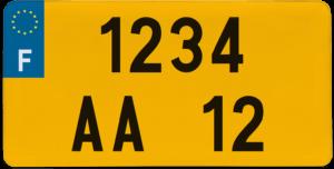 Plaque USA fond jaune ancien numéro – 30×15