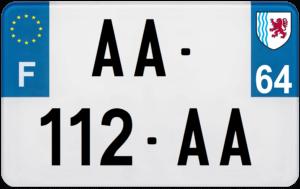Plaque MOTO – 210×130 – 64 – Pyrénées-atlantiques