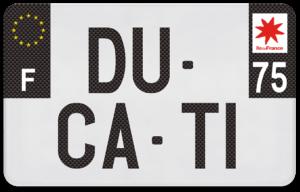 Plaque Moto – 210×130 – Texture carbone