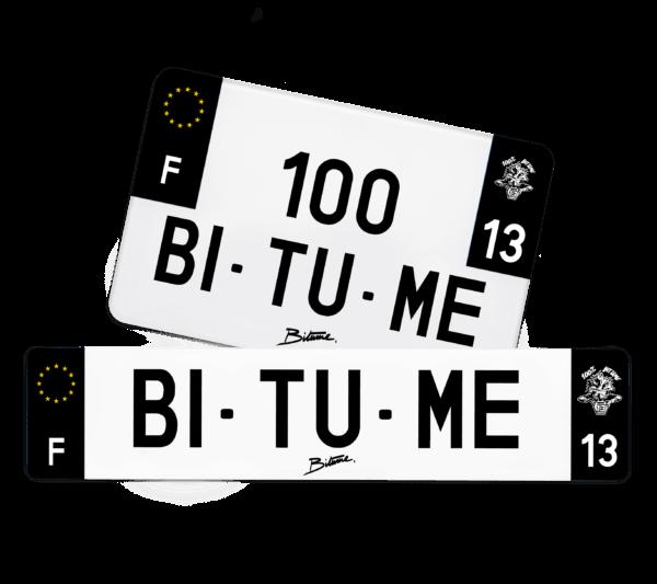 Plaque immatriculation personnalisée 100% BITUME